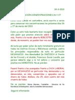 COMUNICACIÓN CONCENTRACIONES 27 Y 28 ENVÍO LOS SANTOS INOCENTES DE HOY