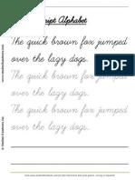 Cursive Script Alphabet Dashed Quick Brown Fox Practice