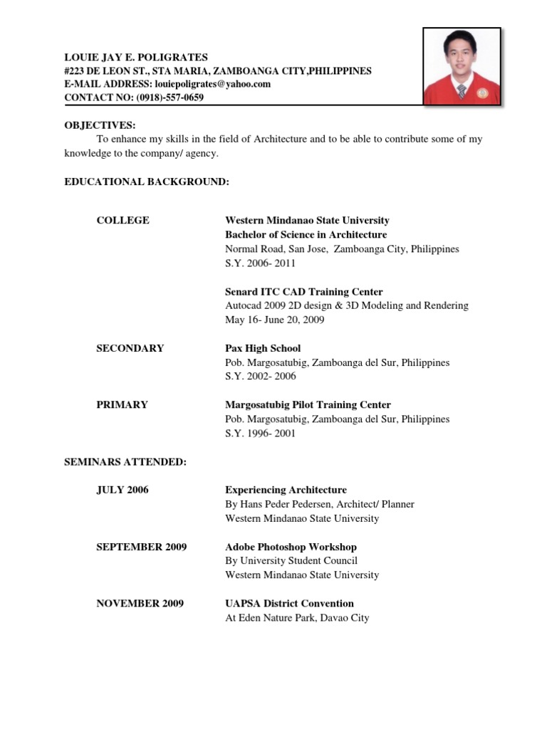 resume docx philippines mindanao