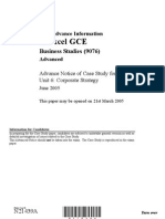 Fly U There GCE Busi Studies ADV Case Study Unit 6 Jun05