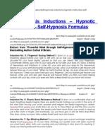 Self-Hypnosis Inductions – Hypnotic Instruction – Self-Hypnosis Formulas