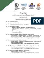 Program Conferinta Medierea - Procedura Si Practica - 29.03.2013
