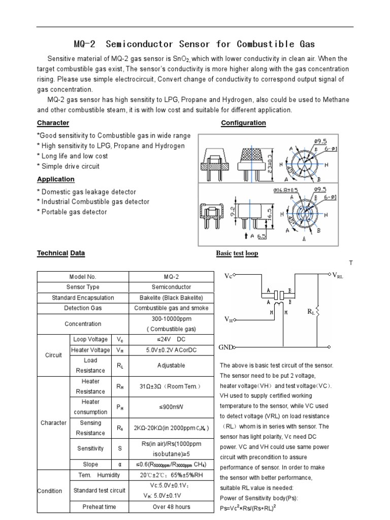 MQ2 data sheet | Sensor | Electrical Resistance And Conductance