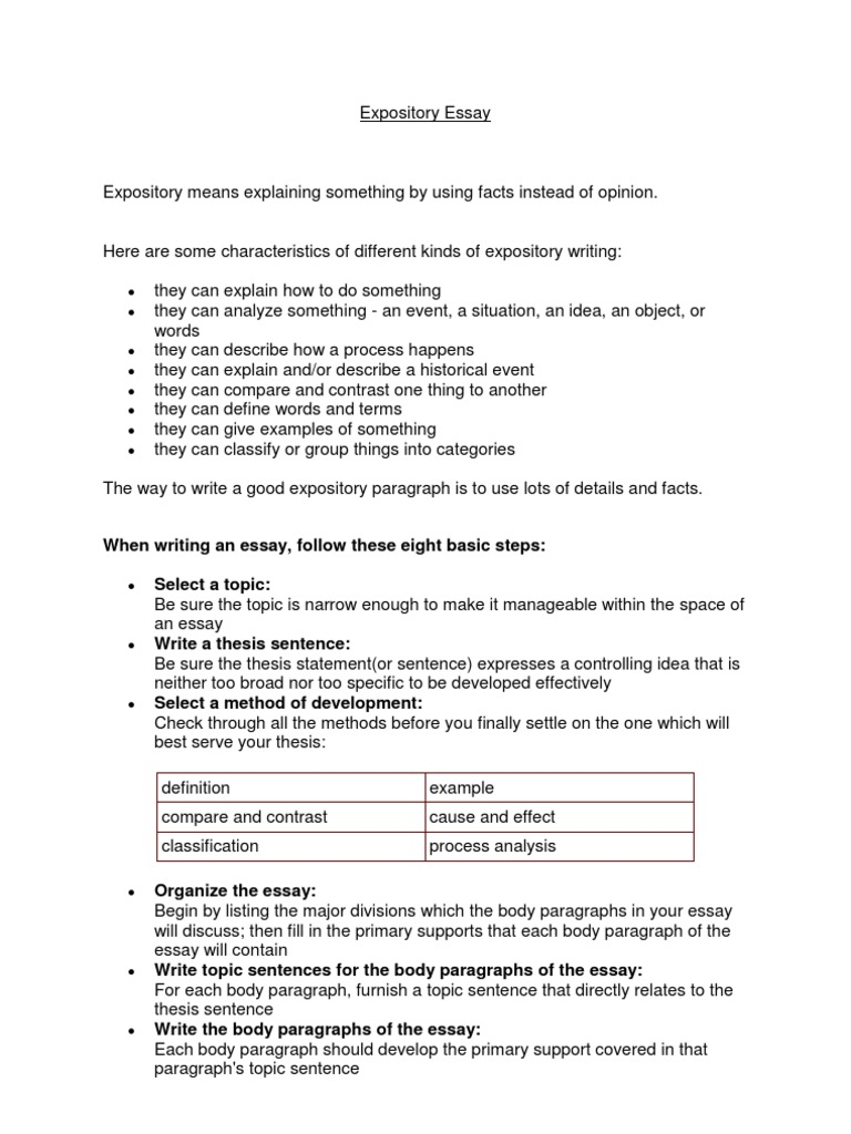 Expository Essay   Essays   Paragraph