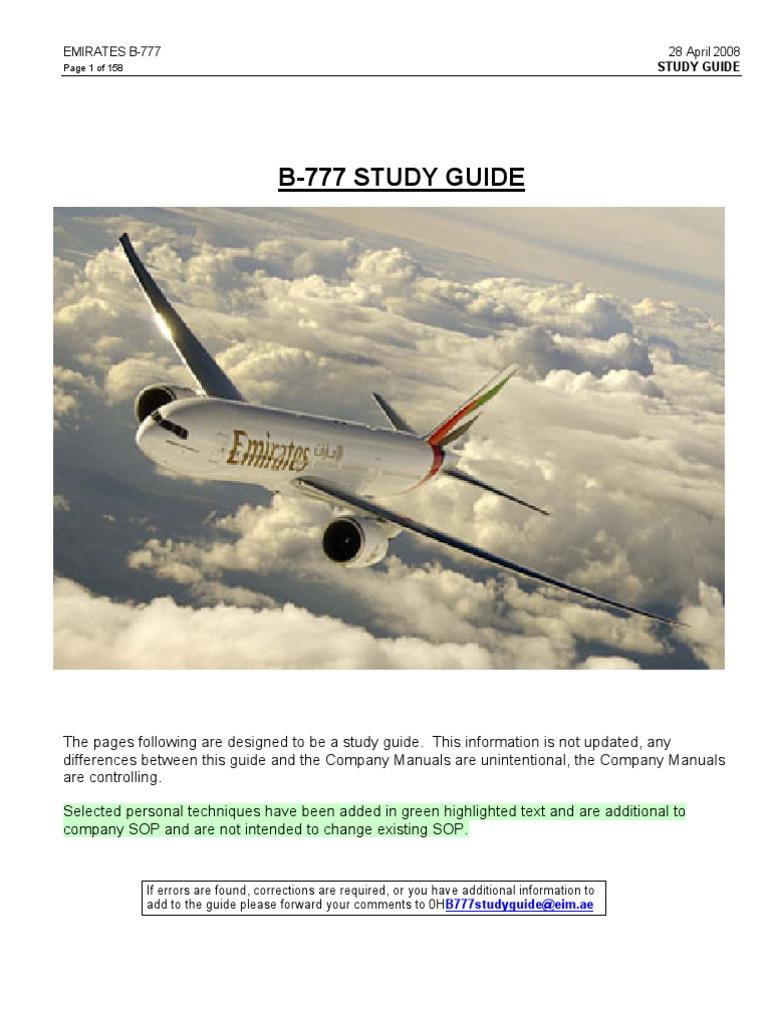 b777 study guide emirates takeoff turbine engine failure rh pt scribd com Emirates First Class B777 Emirates B777 Tour
