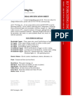 Material Specifications Data Sheet