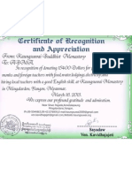 2. Certificate for Donation.