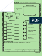Basic D&D PC Record Sheet