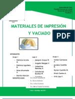 INFORME SEMINARIO MATERIALES DE IMPRESIÓN Y VACIADO DEFINITIVO