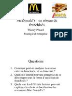 Cas McDonald's un réseau de franchisés