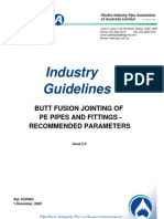 Butt Fusion Jointing of PE Pipes and Fittings - Recommended Parameters