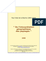 Vidal de La Blache de l Interpretation Geographique Des Paysages