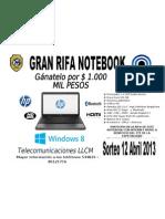 Rifa Notebook Publicidad 2013
