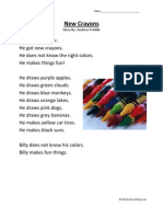 New Crayons First Grade Reading Comprehension Worksheet