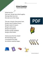 School Supplies First Grade Reading Comprehension Worksheet