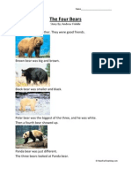 The Four Bears First Grade Reading Comprehension Worksheet