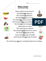 What a Feast First Grade Reading Comprehension Worksheet