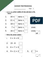 Assessment Math Term 2 Year 1 2012