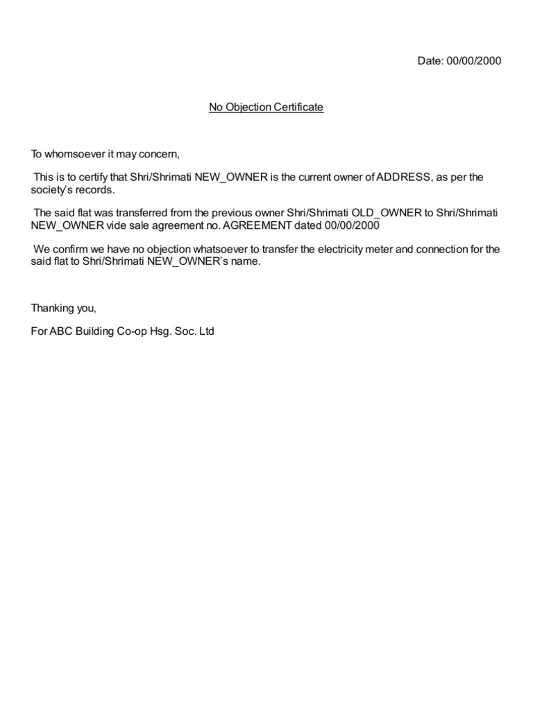 Housing Society Electricity Meter Connection Transfer NOC No – Format of No Objection Certificate