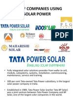 List of Companies Using Solar Power
