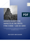 Answer Script for Aspects in the Novel (THE CURSE)