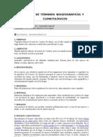 Glosario de términos biogeográficos y  climatológicos