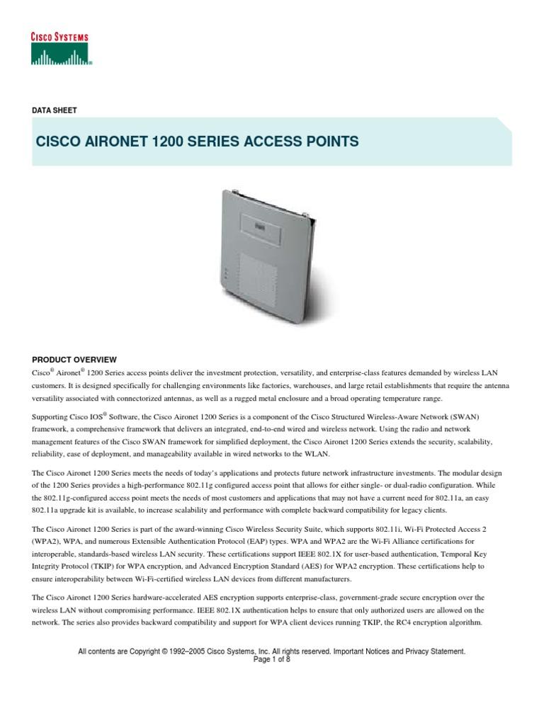 Cisco Aironet1200 Datasheet Ieee 80211 Wireless Lan Rc4 Wiring Diagram