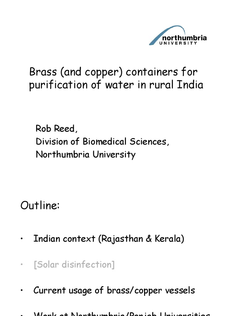 Brass for Purification of Water in Rural India