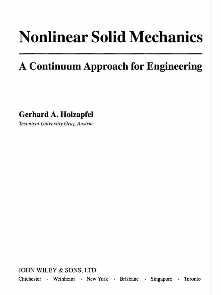 Nonlinear Solid Mechanics a Continuum Approach for Engineering | Tensor |  Euclidean Vector