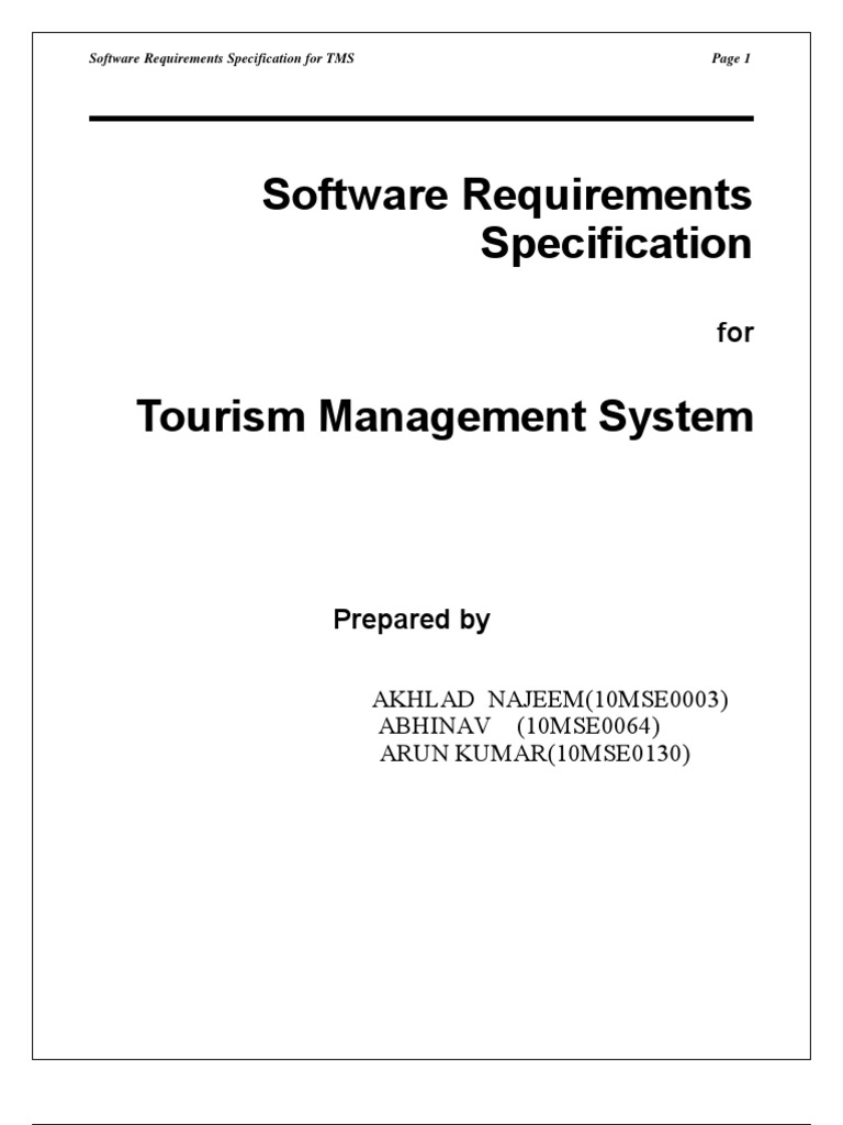 Tourism Srs | Specification (Technical Standard) | Databases