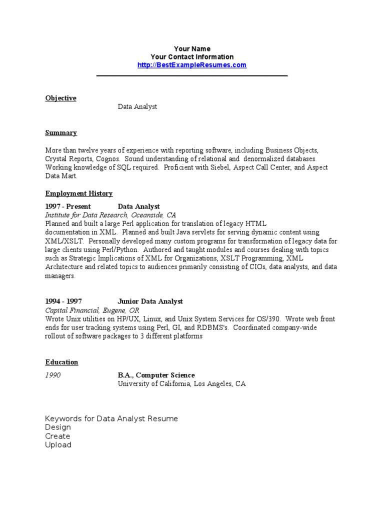 Data Analyst Resume Sample