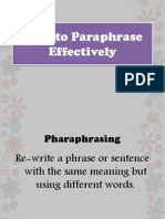 How to Paraphrase Effectively
