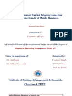 31550174 Study of Consumer Buying Behavior Regarding the Different Brands of Mobile Handsets
