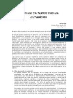 """CARTA ASE 005-2006 """"CARTA DE CRITERIOS PARA EL EMPROÍSMO""""  por el P. German Alberto Mendez"""