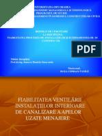 Prezentare Fiabilitatea Ventilarii Instalatiilor Interioare de Canalizare a Apelor Uzate Menajere 2003