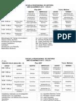 Horarios de Historia, I Semestre 2013 - UNFV