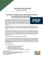 Boletín 011_ Intensificación y Vigilancia de las enfermedades trasmitidas por alimentos (ETA) en Semana Santa