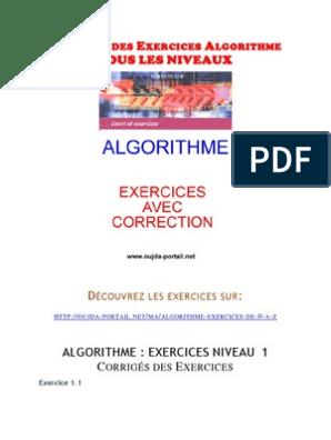 Exercices Dalgorithme Corriges Des Exercices Algorithme Tous Les Niveaux Fichier