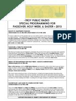 Holy Week Programs - 2013 Troy Public Radio