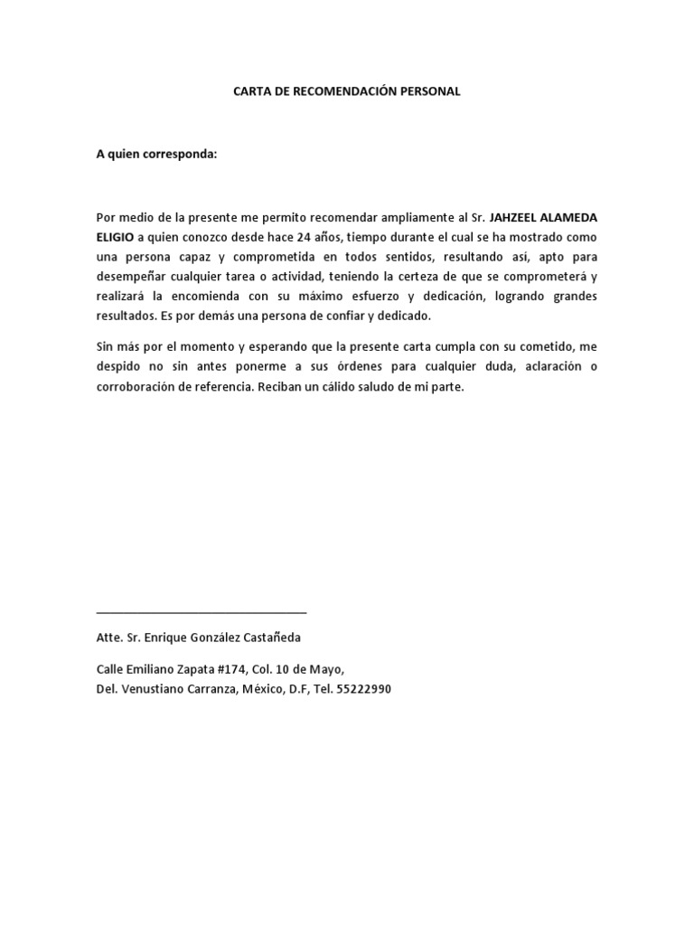 carta de recomendacin personal jahzeeldocx