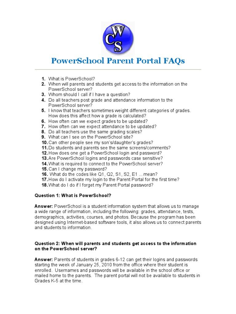 Parent Portal FAQ | Grading (Education) | Password