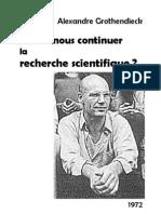Grothendieck Allons Nous Continuer