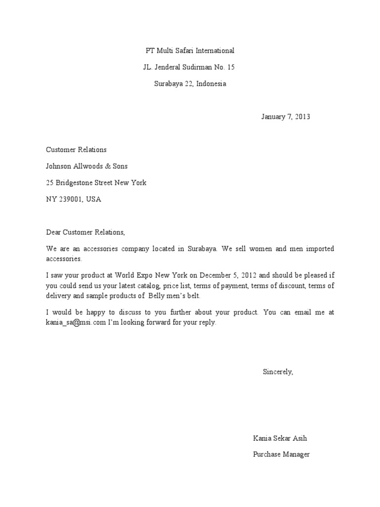 Inquiry Letter Reply