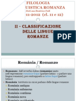 Classificazione delle lingue romanze