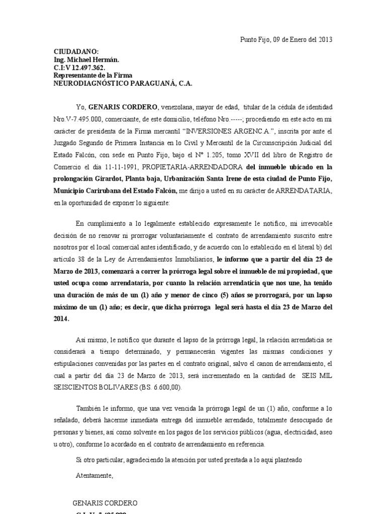 Carta Notificando No Prorroga Contrato Arrendamiento
