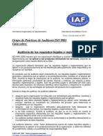 Auditoria de Los Requisitos Legales y Reglamentarios