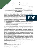 Cp 18-3-2013 Extention de La Convention Collective Cinema