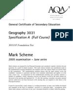 AQA geography 2005 markscheme