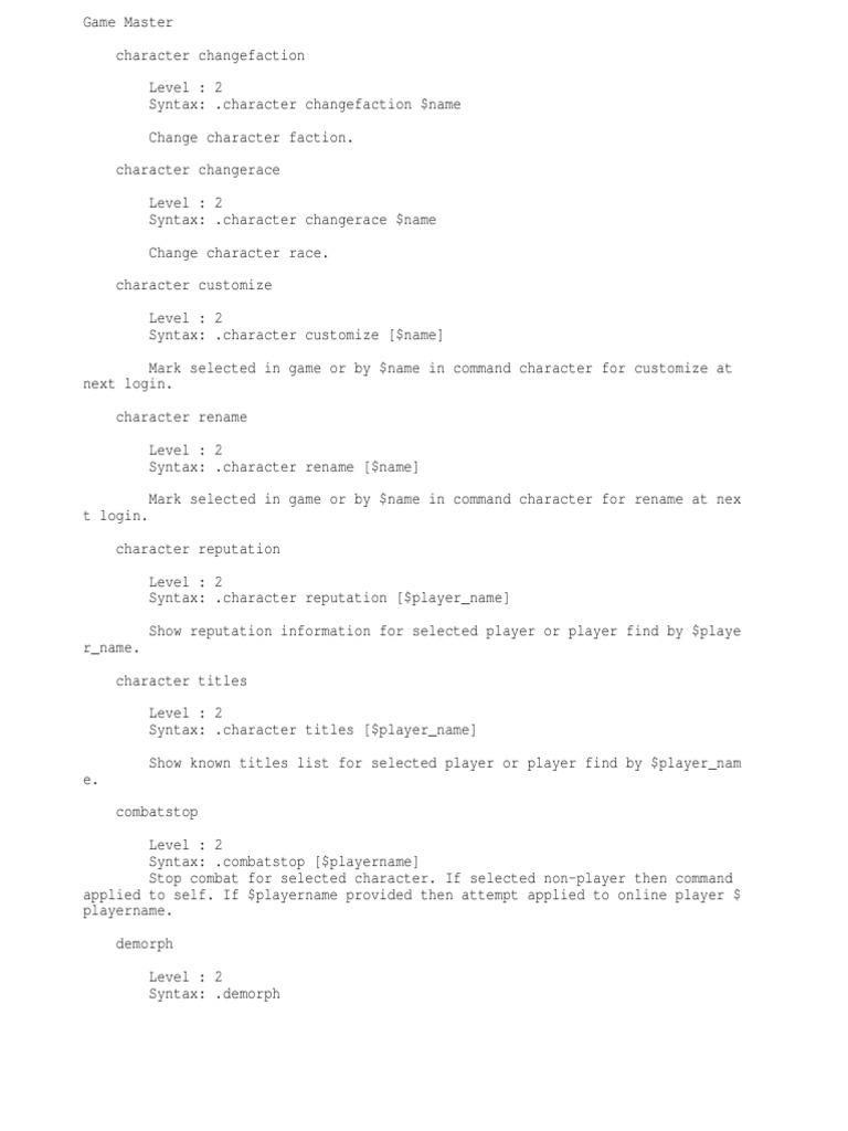 Trinity Core GM Commands | Filename | Computing