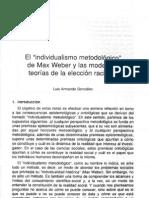 El Individualismo Metologico de Max Weber y Las Modernas Teorias de Eleccion Racional